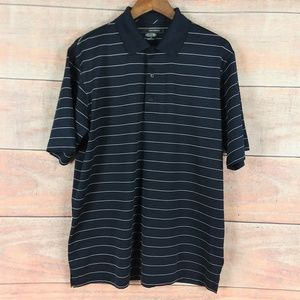 Greg Norman Play Dry Blue White Striped Golf Shirt